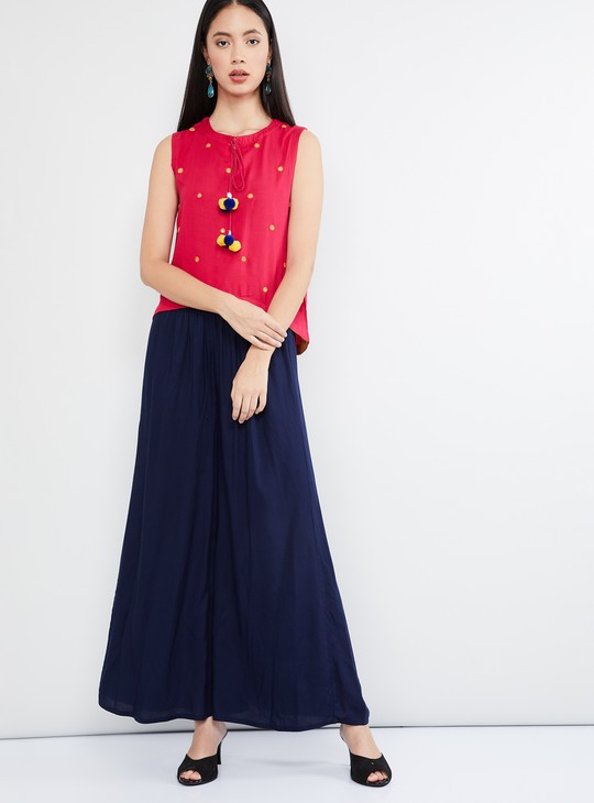 MAX Embroidered Bobble Trimmed Top