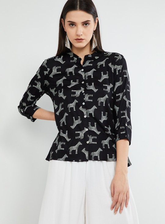 MAX Animal Print Rolled-Up Sleeves Top