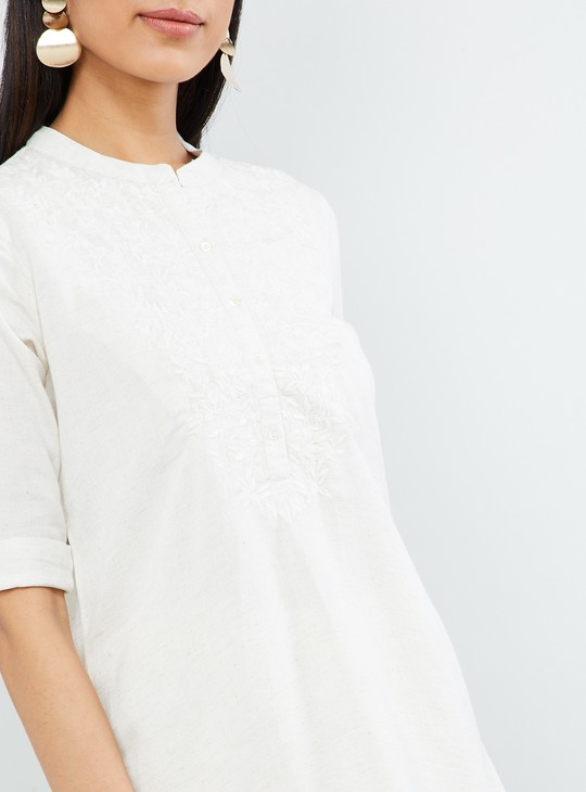 MAX Embroidered Rolled-Up Sleeves Tunic