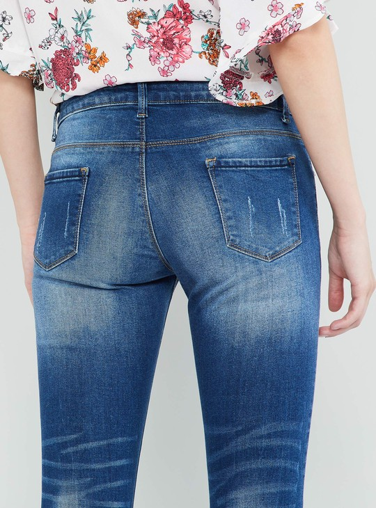 MAX Lightly Washed Distressed Cropped Jeans