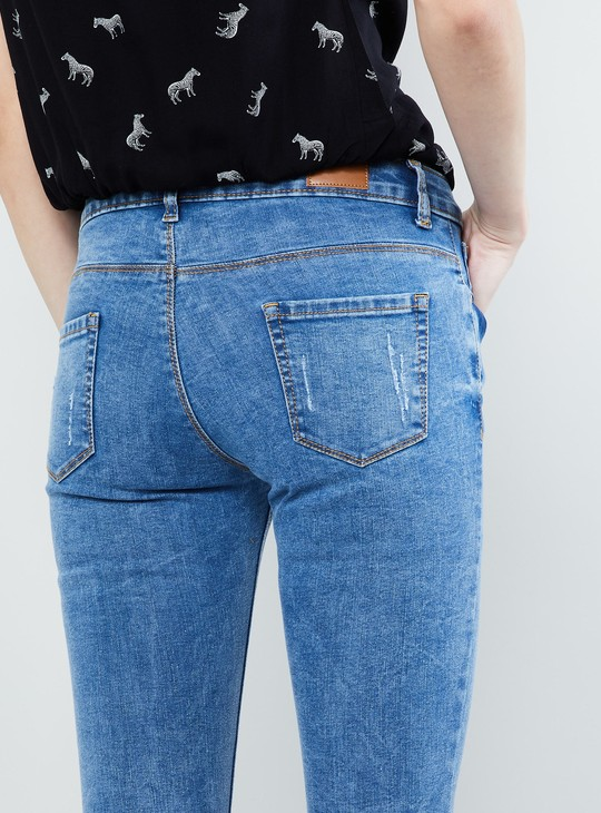 MAX Stonewashed Skinny Fit Cropped Jeans