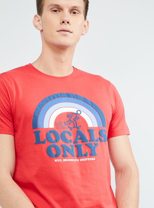 MAX Typographic Print Short Sleeves Crew Neck T-shirt