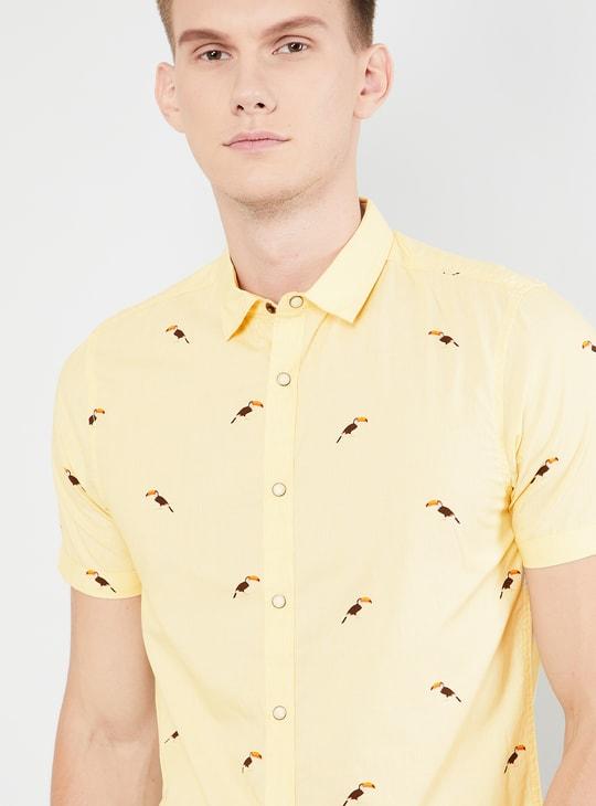 MAX Printed Short Sleeves Slim Fit Casual Shirt