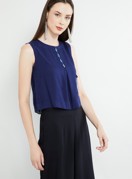MAX Embroidered Sleeveless Top with Tie-Up