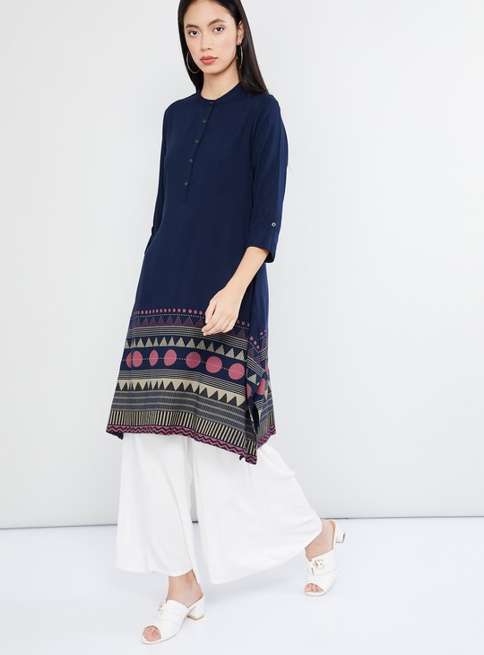 MAX Printed Hem Band Collar Kurta