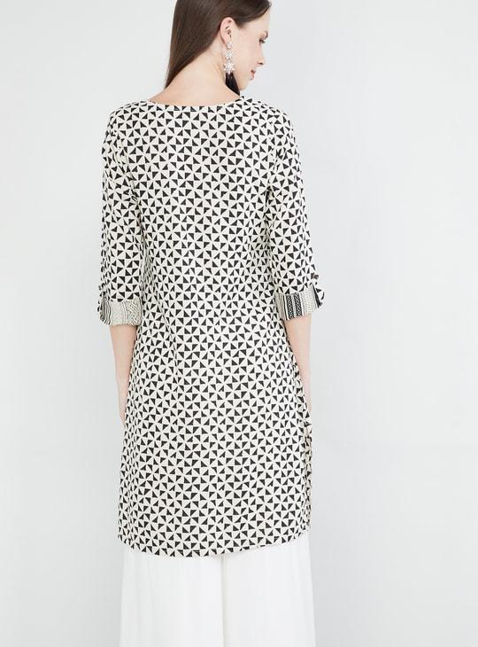 MAX Geometric Print Rolled-Up Sleeves Kurta