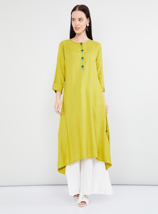 MAX Solid Rolled-Up Sleeves Asymmetrical Maxi Kurta