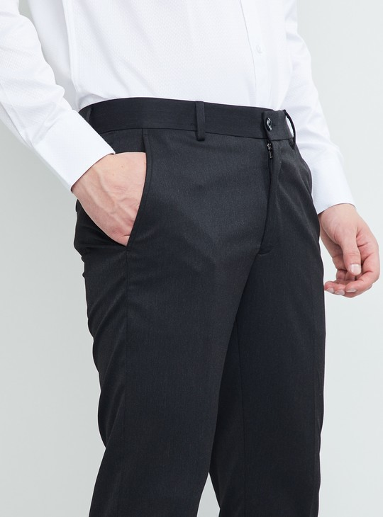 MAX Solid Flat-Front Ultra Slim Fit Stretch Trousers