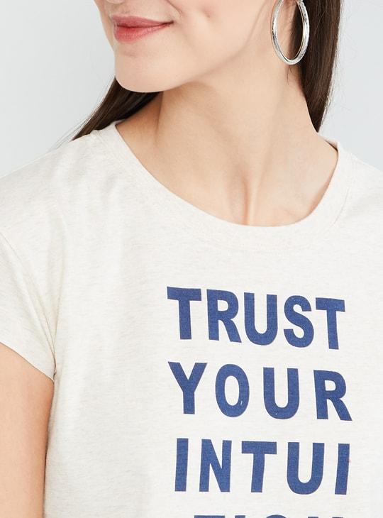 MAX Typographic Print Cap Sleeves Crop Top