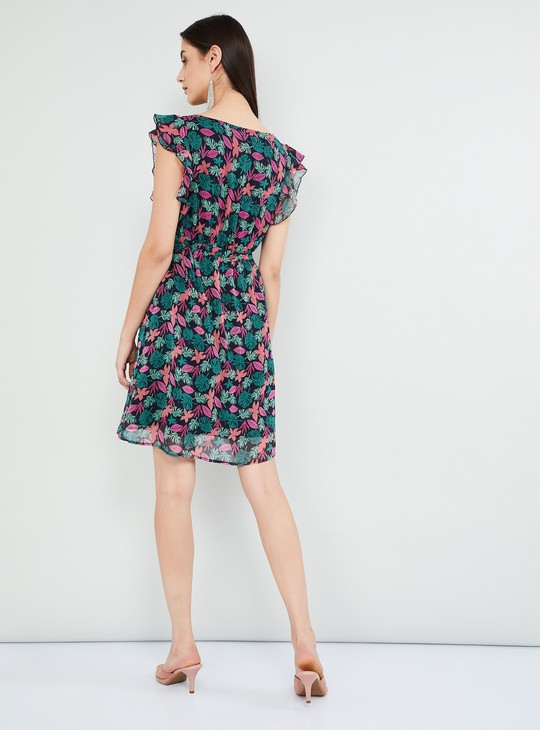 MAX Tropical Print Ruffled Sleeved A-line Dress