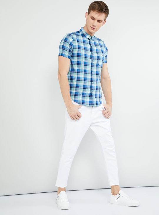 MAX Checked Short Sleeves Slim Fit Shirt