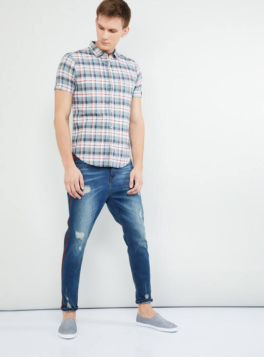 MAX Checked Short Sleeves Slim Fit Shirt