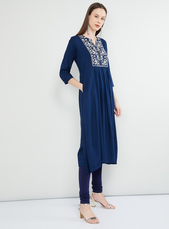 MAX Embroidered Notch Neck Flared Kurta