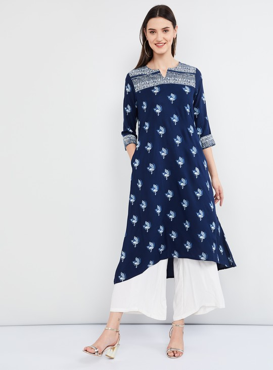 MAX Animal Print Three-quarter Sleeves Asymmetrical Kurta