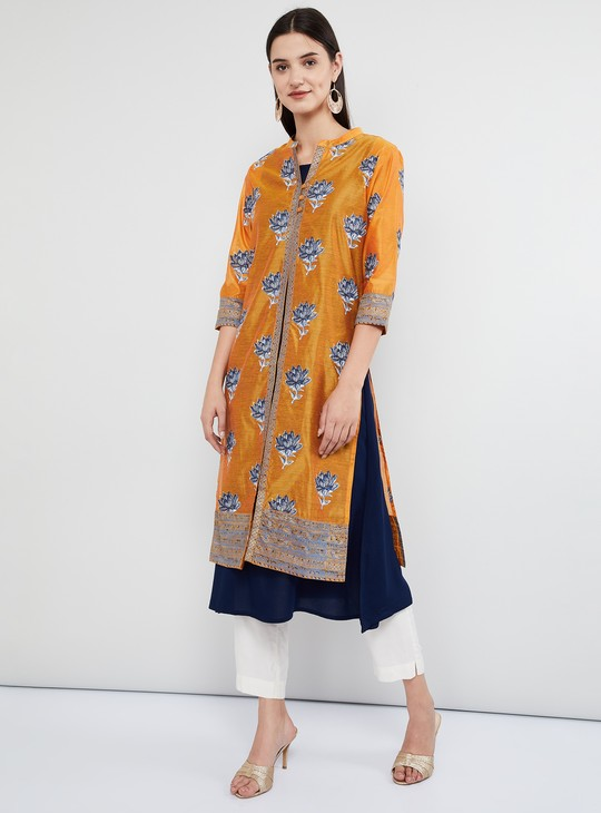 MAX Printed Three-Quarter Sleeves Layered Kurta