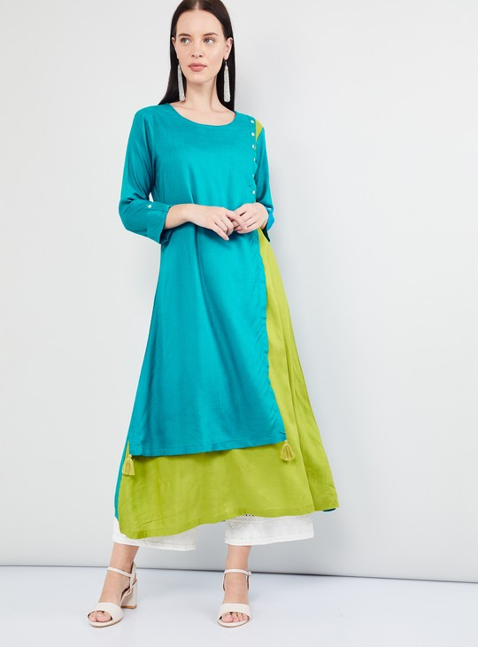 MAX Solid Rolled-Up Sleeves Kurta
