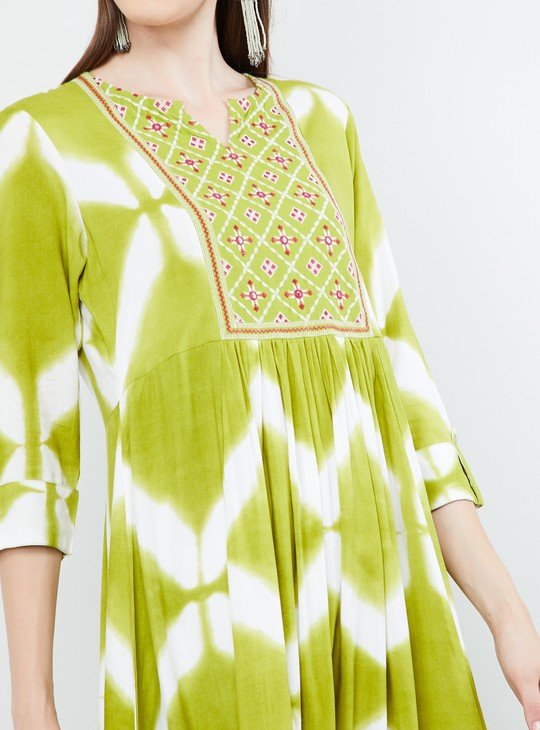 MAX Embroidered Yoke Printed Flared Kurta