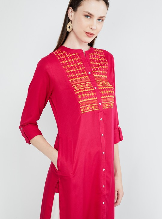 MAX Roll-Up Sleeves Embroidered Straight Kurti