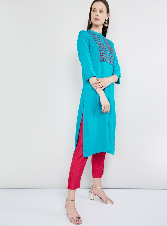 MAX Roll-Up Sleeves Embroidered Straight Kurta