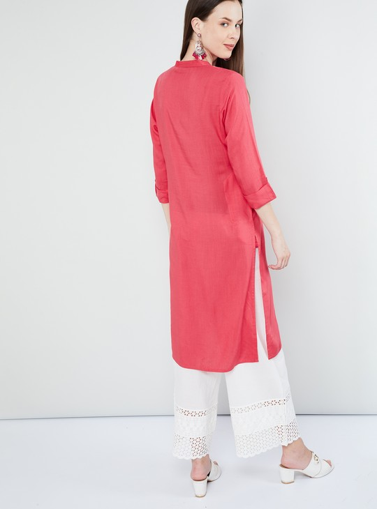 MAX Embroidered Rolled-Up Sleeves Kurta