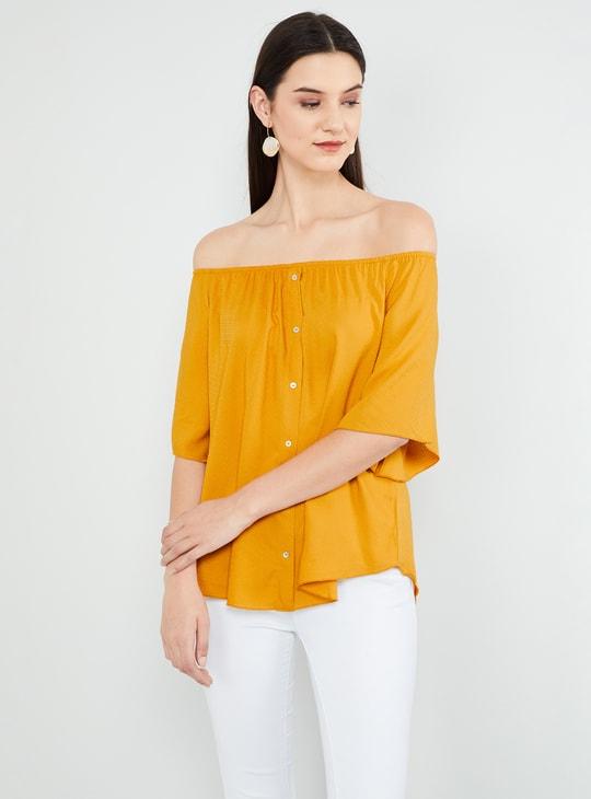 MAX Solid Flared Sleeves Bardot Top