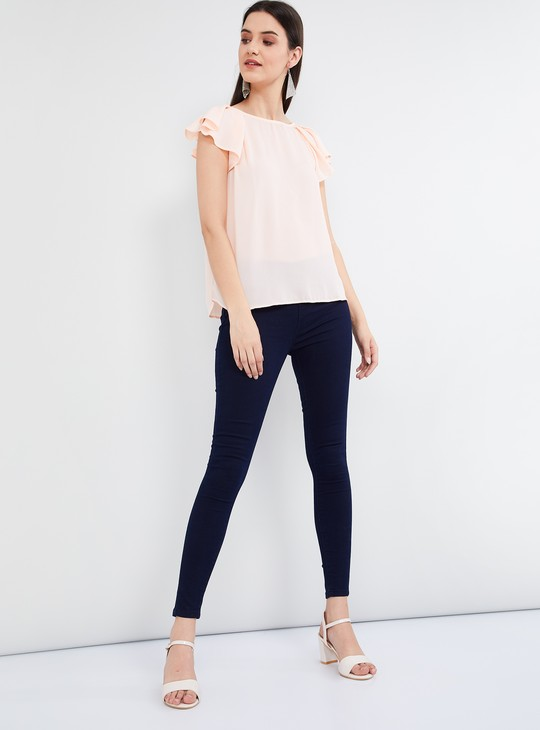 MAX Solid Ruffled Sleeves Top