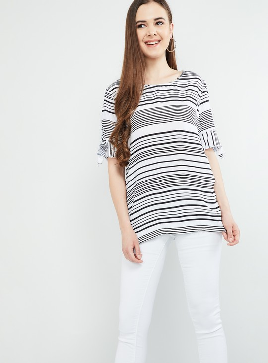 MAX Striped Tie-Up Sleeves Top