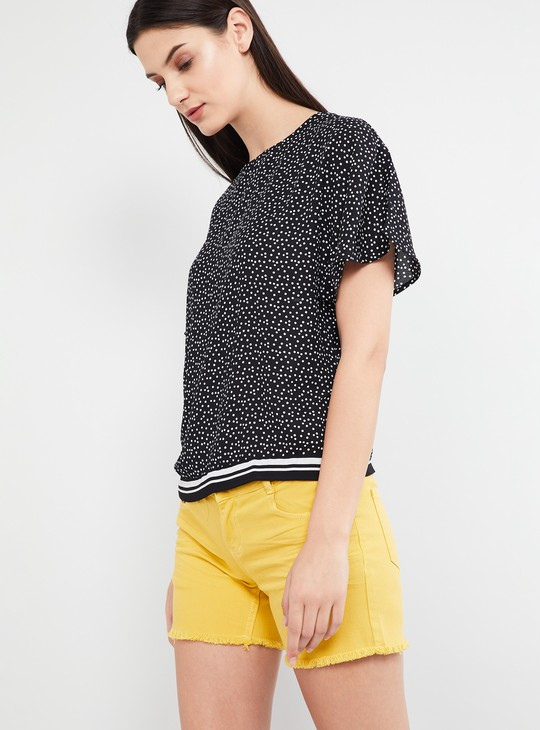 MAX Printed Butterfly Sleeves Top