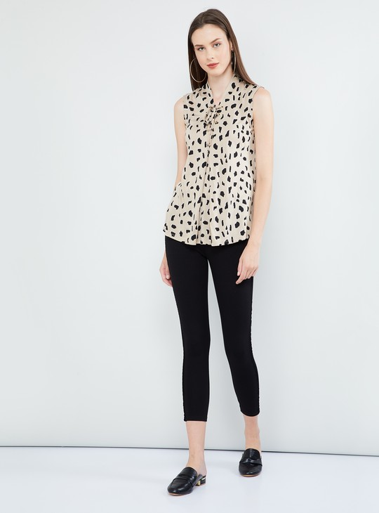 MAX Polka Dot Print Cap Sleeves Top