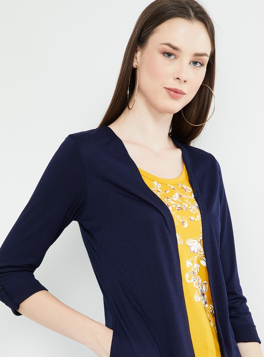 MAX Geometric Print Rolled-Up Sleeves Shrug Layered Top