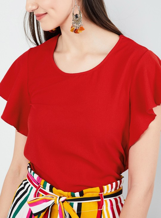MAX Solid Flutter Sleeves Top