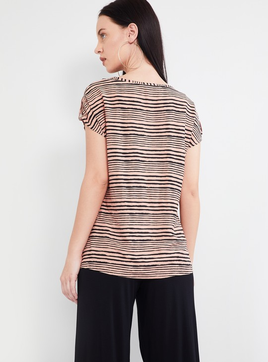 MAX Striped Cap Sleeves Top