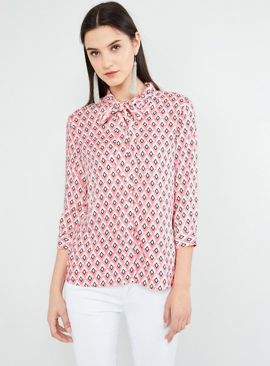 MAX Geometric Print Three-Quarter Sleeves Top