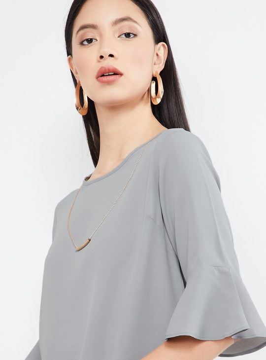 MAX Solid Bell Sleeves Top