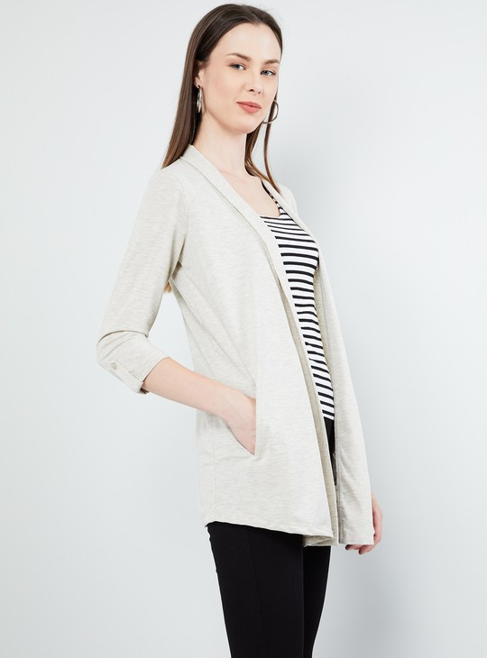 MAX Solid Rolled-Up Sleeves Shrug