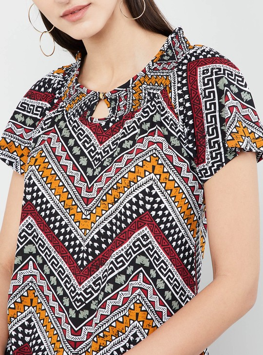 MAX Ethnic Print Cap Sleeves Top