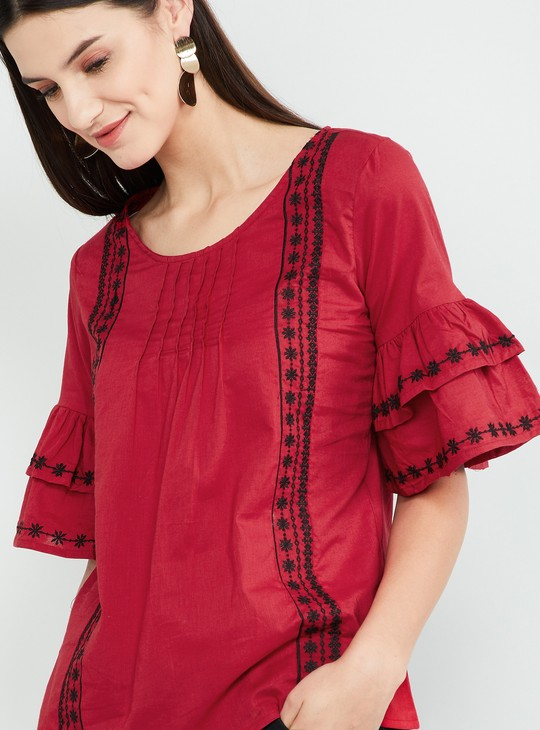 MAX Embroidered Tiered Sleeves Top