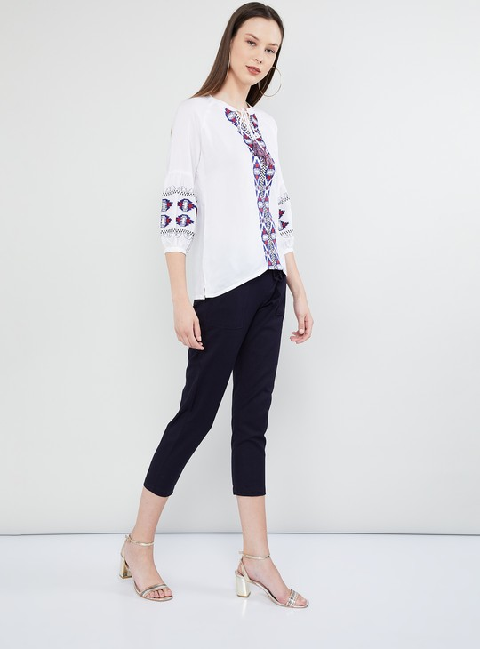 MAX Embroidered Empire Sleeves Top