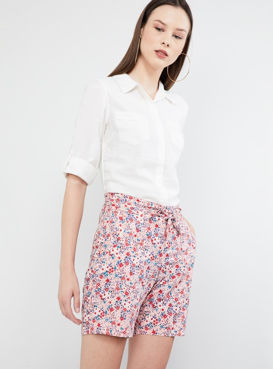MAX Solid Rolled-Up Sleeves Shirt