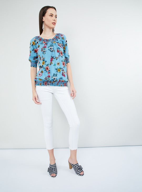 MAX Ethnic Print Short Sleeves Top