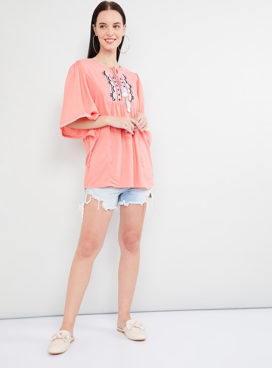 MAX Embroidered Butterfly Sleeves Tunic