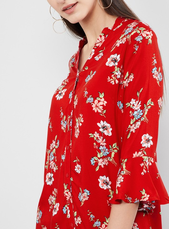 MAX Floral Print Bell Sleeves Tunic