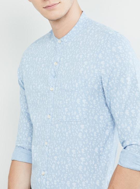 MAX Floral Print Band Collar Full Sleeves Slim Fit Shirt