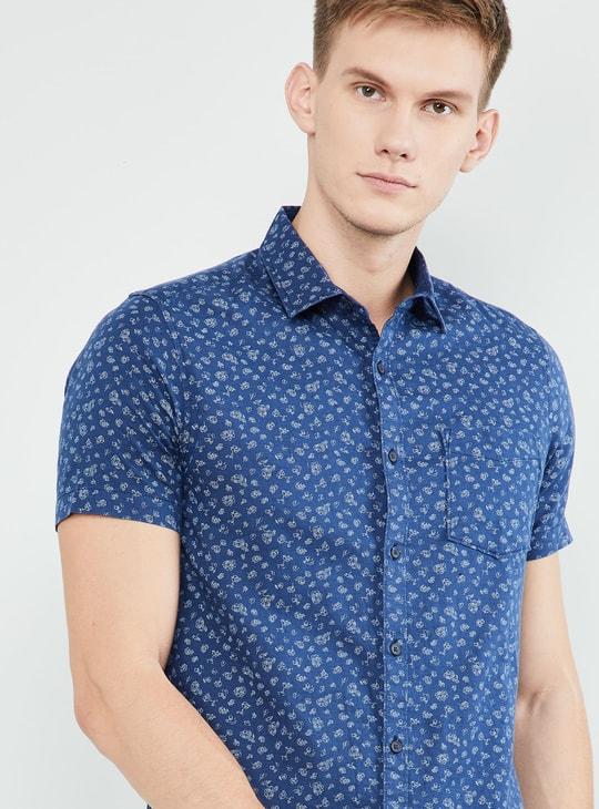 MAX Floral Print Short Sleeves Slim Fit Shirt