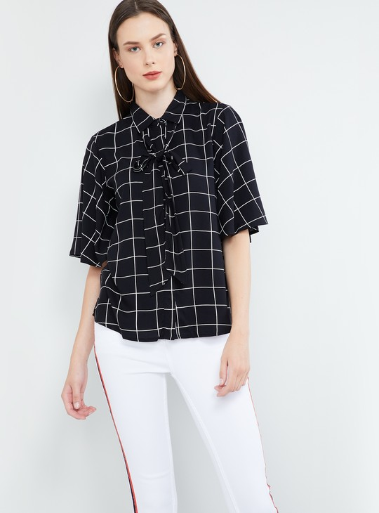 MAX Checked Flutter Sleeves Top