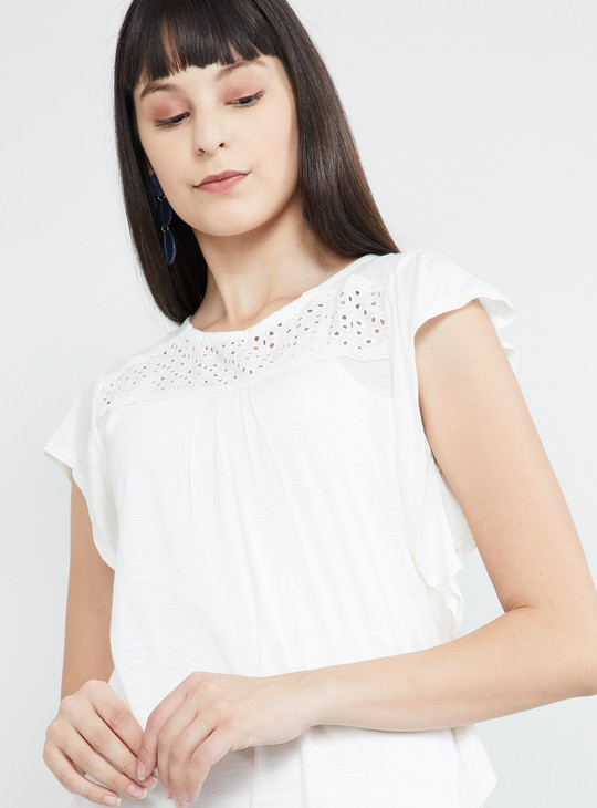 MAX Dolman Sleeves Slub Top with Lace Panel