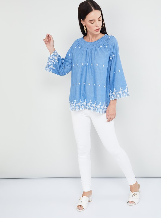 MAX Scalloped Hem Lace Top
