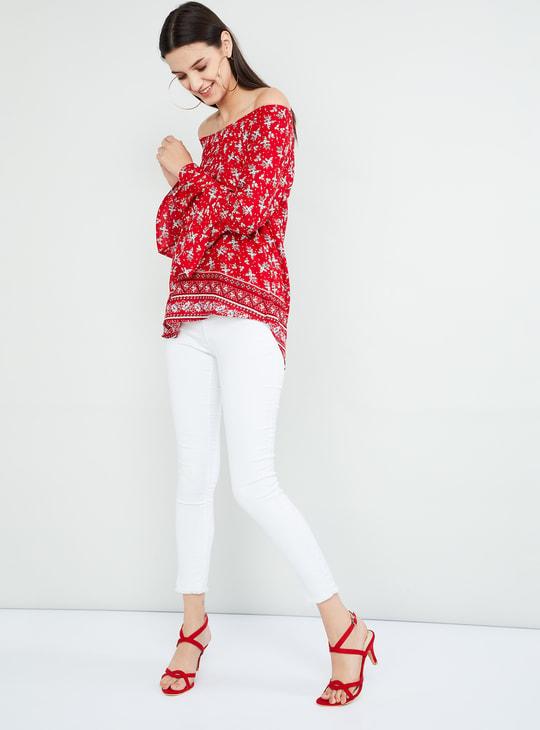 MAX Floral Print Bell Sleeves Bardot Top
