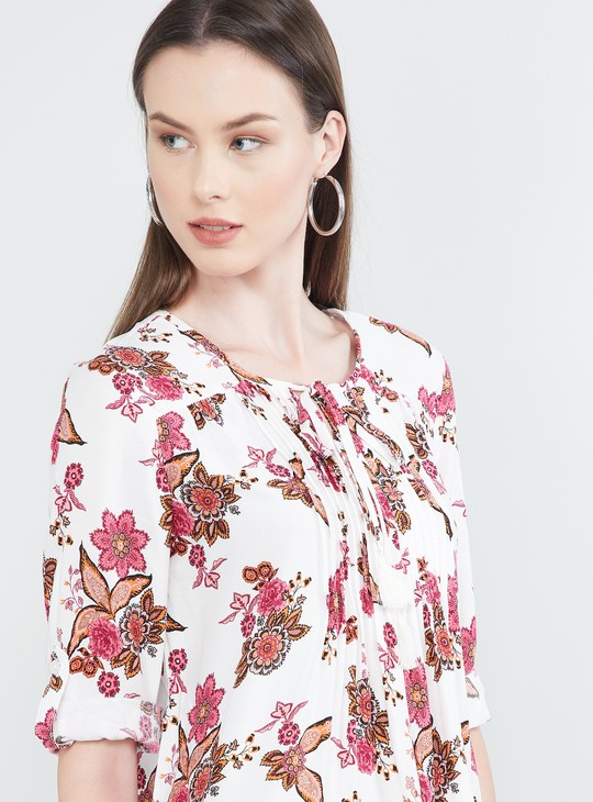 MAX Floral Print Roll-Up Sleeves Tunic