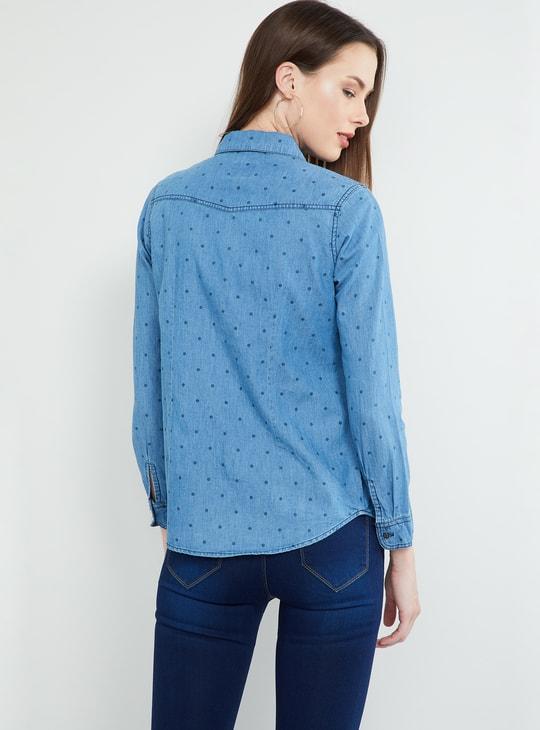 MAX Polka-Dot Print Denim Shirt